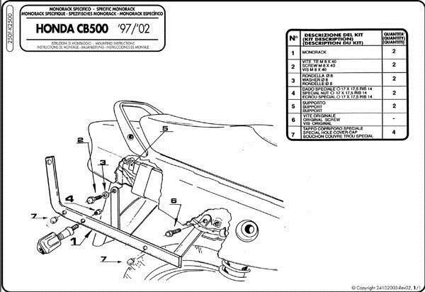 Stelaż Kufra Centralnego Kappa K2500 Honda Cb 500 97 05