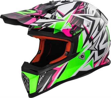 Kask crossowy LS2 MX437 FAST STRONG W/GREEN PINK